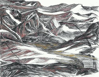 """""""Hill Spirits""""  Charcoal, colored pencil      6"""" x 7""""   2013  Image (189)"""
