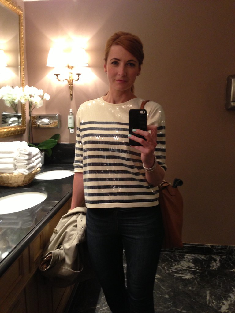 Breton striped sequinned top