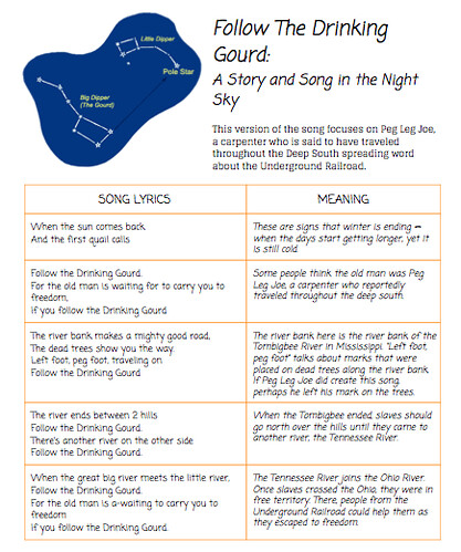 Printables Follow The Drinking Gourd Worksheets seeing constellations as a way of remembering history following untitled