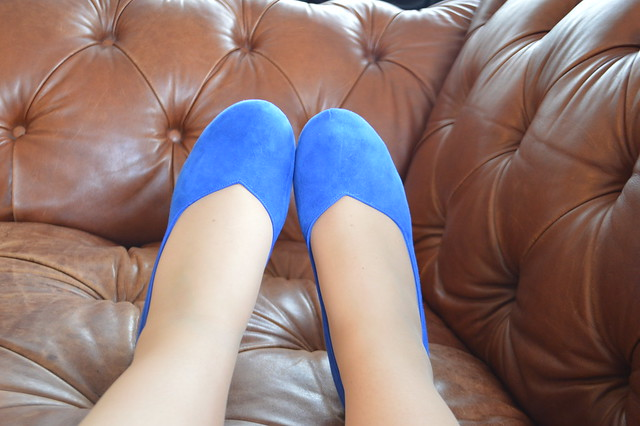 A picture of blue suede chorus voice shoes from Clarks