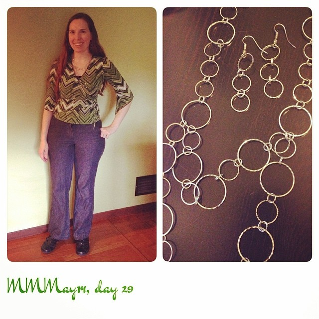 #mmmay14 Made the pants and jewelry. May need to rethink this top. My torso looks rather oddly short in this pic.