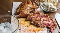 First steak in a De Buyer iron pan.