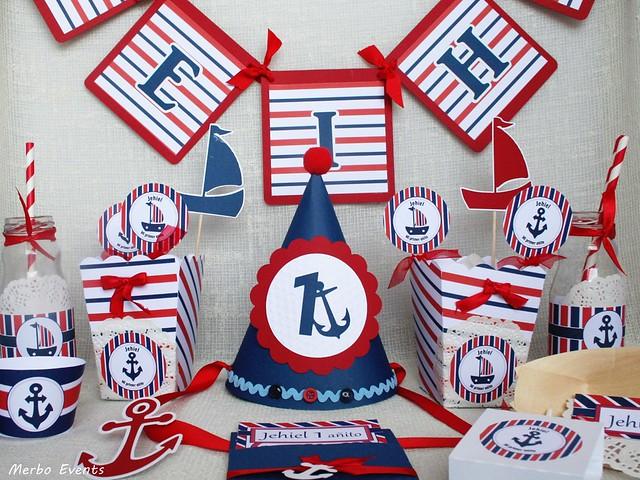 Kit decoración cumpleaños MArinero Mesa dulce Merbo Events