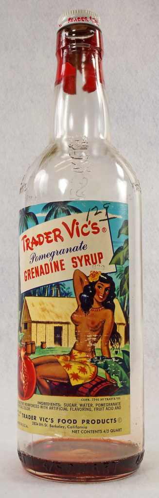 RD15320 Vintage Mid Century 1946 Bottle of Trader Vic's Pomegranate Grenadine Syrup with Topless Girl Tiki DSC09132