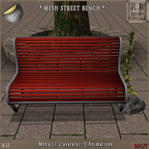 NEW GIFT ! *RnB* Mesh Street Garden Bench - 5 Anims (2 avs) - Feeb's Gift