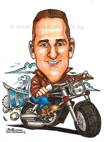 caricature on Harley Davidson for Cameron