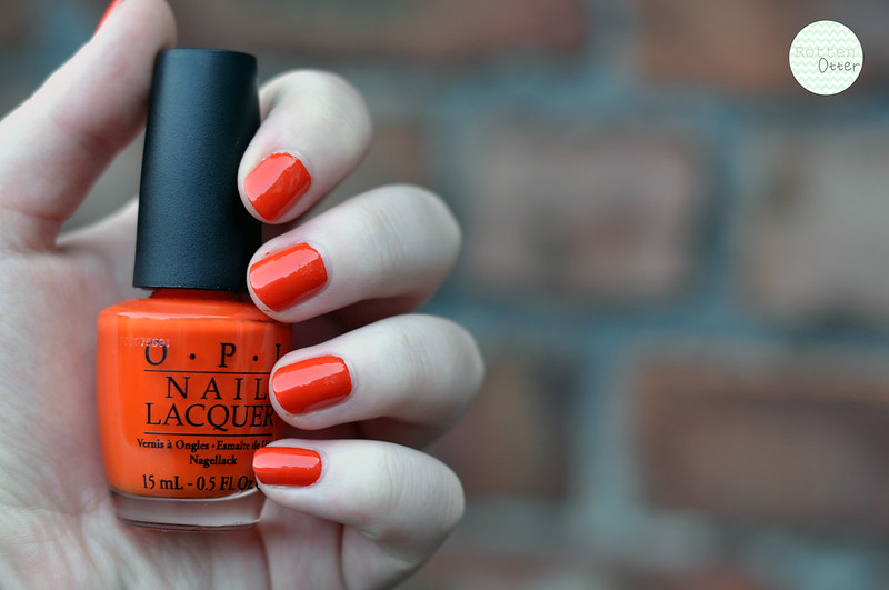 NOTD OPI A Roll In The Hague nail polish bright orange neon creme rottenotter rotten otter blog 1