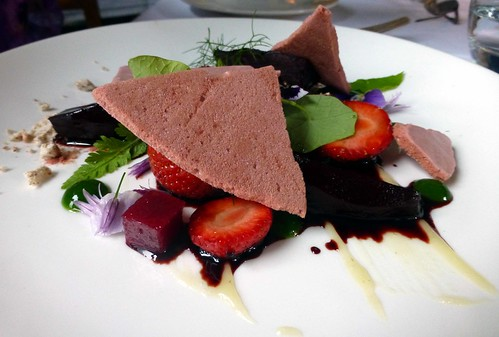 Warm Strawberry with lime puree, walnut powder, beet meringues, balsamic & elderflower syrup @ The Mustard Seed