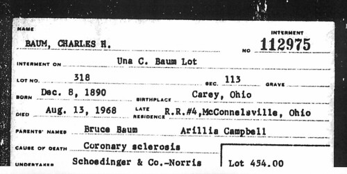 Interment Card for Charles H Baum