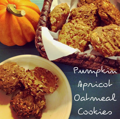 Pumpkin Apricot Oatmeal Cookies in a basket and on a plate