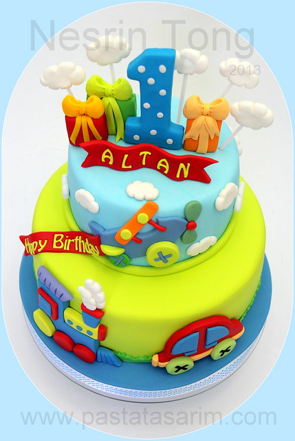 car,train and plain 1st birthday cake-