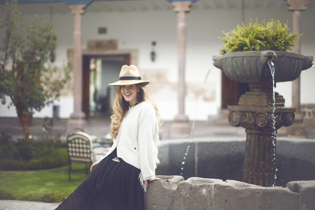 at Palacio Nazarenas in Cusco, Peru wearing Free People