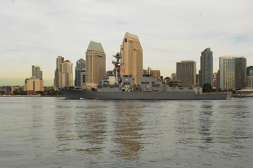 SAN DIEGO - The Arleigh Burke-class guided missile destroyer USS Howard (DDG 83) depart Naval Base San Diego on an independent deployment to the Western Pacific Ocean.