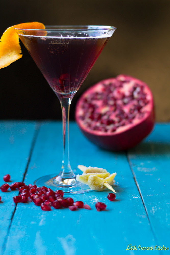 Pomegranate Ginger Champagne Cocktail via LittleFerraroKitchen.com