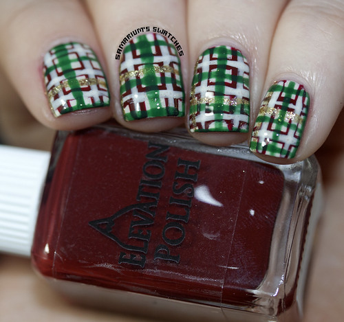 Christmas Plaid Nail art (3)