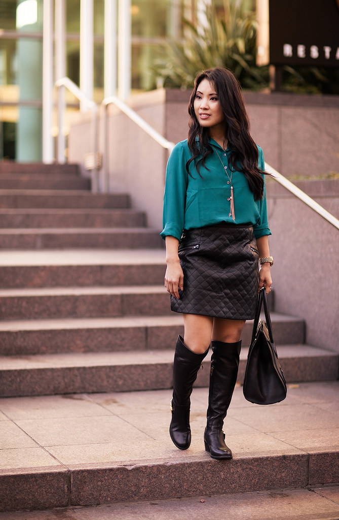 cute & little blog | teal silk top, sheinside leather quilted skirt, vince camuto bedina over-the-knee otk black boots outfit | petite fashion