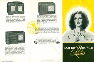 Croatia. Zagreb Year ~ 1938. American - Bosch Radio - 1938. Les Noveaux Modeles  UNITED AMERICAN BOSCH CORPORATION SPRINGFIELD U.S.A. 2050 PR Bosch Radio d