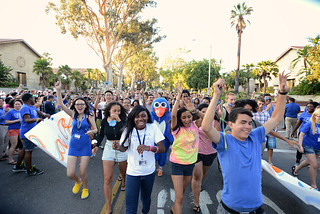 Members of the Class of 2017 are welcomed to campus in August 2013.