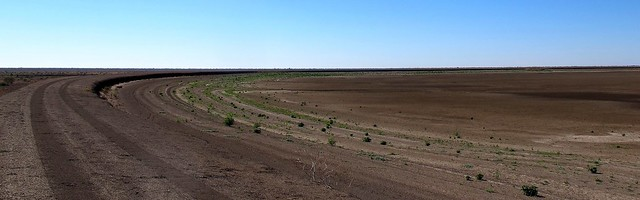 Dry storage dam. Cotton farm, Brewarrina, NSW.