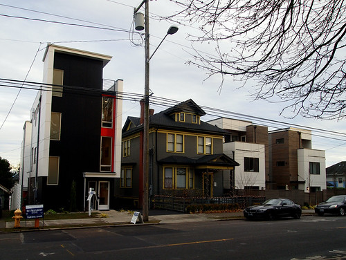 Pike's Follies:  Front/West Elevation of Front Home, Streetscape, Transition-of-Central-Seattle Context