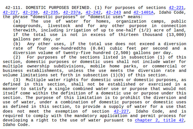 IC 42-111 Water Law