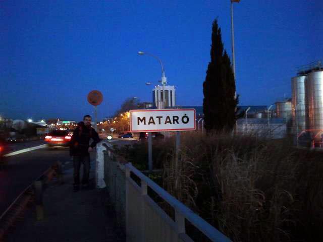 Javi en su llegada a Mataró (28Km desde Barcelona)