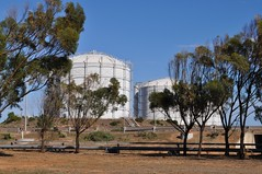 Storage tanks at the Port Bonython facility, Whyalla