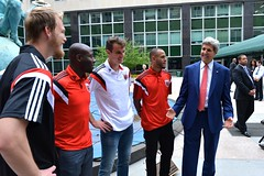 Secretary Kerry Chats With DC United Player