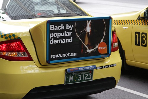 'Back by popular demand' they say? Back of taxi advertising from 'Rova Taxi Media'