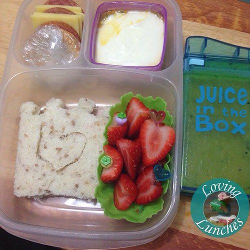 Loving this @easylunchboxes I threw together this morning for Miss M… ️Pepperoni , cheese & crackers; yoghurt with passionfruit, #lunchpunch crown sandwich and strawberries 🍓👑 I'd made a double batch of Gogo juice the other day so that wa