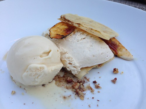 Maple Mousse with caramelized banana and brown butter ice cream