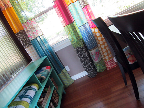 Voile patchwork curtains!