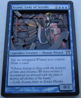 Azami Lady of Scrolls Magic Altered Art 3D card magic 3D card art magic mtg card art Commander modern Azami Commander Azami EDH deck