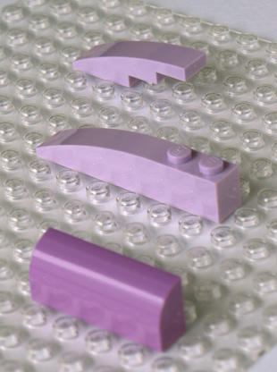 Lavender Brick With Bow 1X4, Lavender Brick 1X6 W/Bow and a Medium Lavender bow for comparison