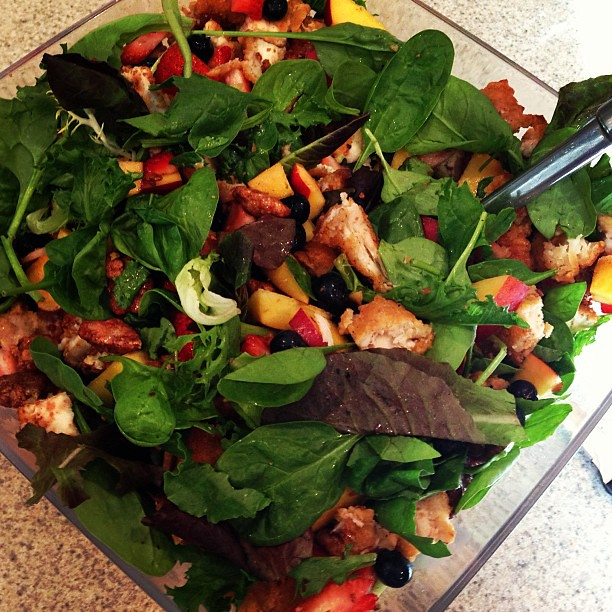 Dinner: Mixed greens with blueberries, strawberries, peaches, chicken, and pralined pecans. Yum!