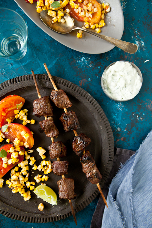 Lamb Skewers With Tomato&Corn Salad