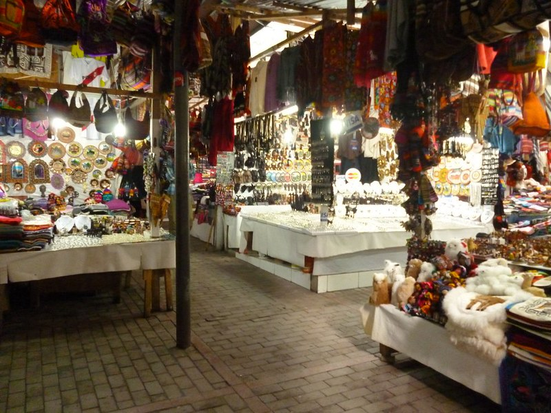 Aguas Calientes market at night