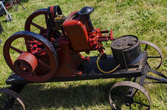 wheel, vehicle, steam engine, lawn,