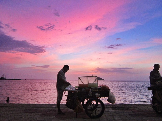 Pink sunset over Santa Marta