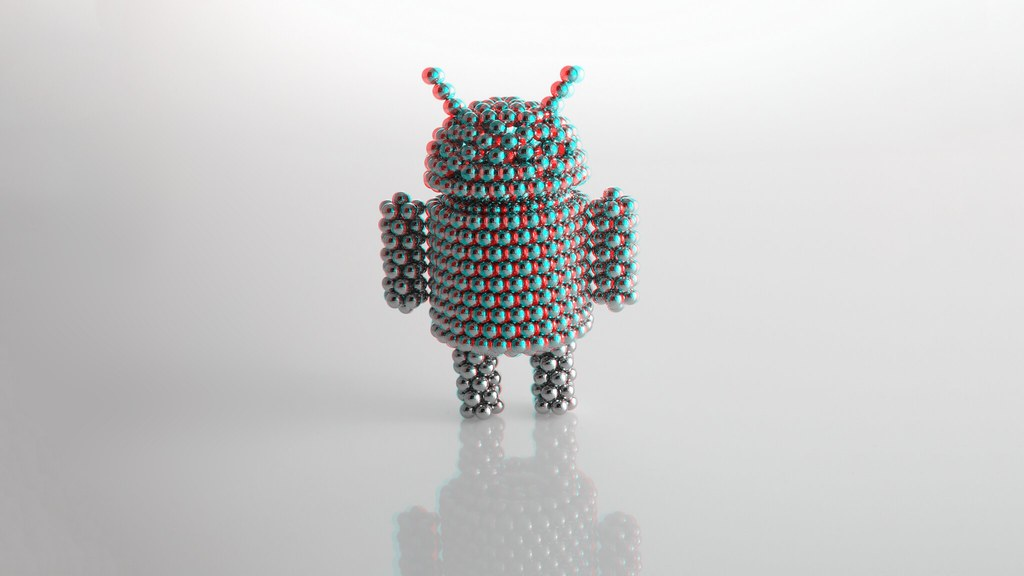 Android mascot in anaglyph (red/cyan) 3D