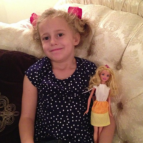 Autumn helped me sew a candy corn dress for Princess Aurora tonight. We had a blast!