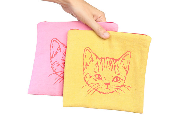 kitty zip pouches