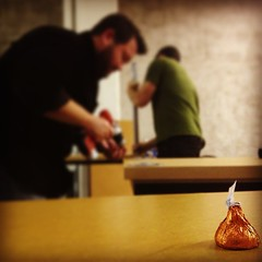 Build a desk; get a kiss! #IndyHall #KissingFairy