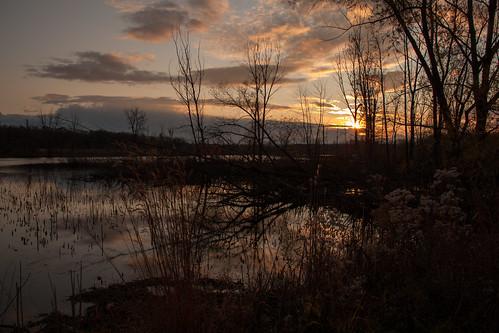winter sunset pond horseshoelake nwi