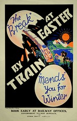 New Zealand Railway poster - The Break at Easter by Train Mends You For Winter 1935