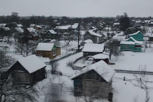 Field of dachas outside the Russian city of Kovrov (Ковро́в)