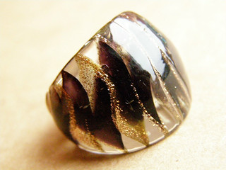 Glass ring. Murano glass - burgundy and gold