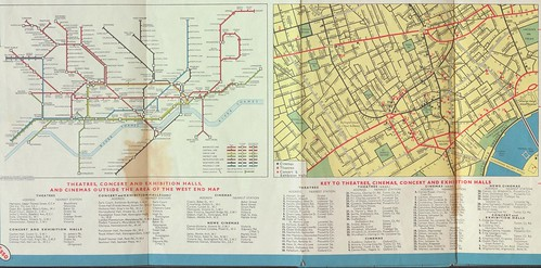 Inset, London Underground and key sites in London's core, from a 1964 Esso gasoline station road map of London, UK