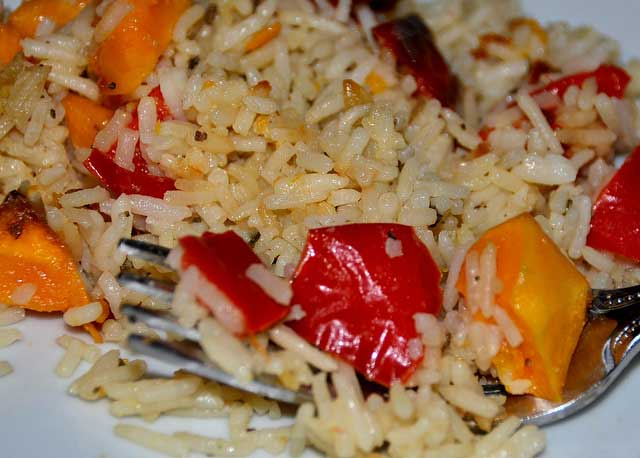 Butternut Squash recipe, peppers with herbs and rice