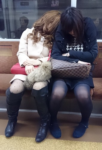 Sleeping Girls on Metro